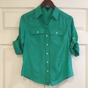 ANN TAYLOR Green Button Down Top 0